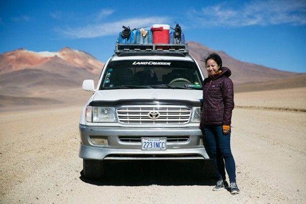 Britnee and their 4x4 on their 3-day crossing to Bolivia.
